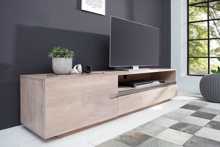 Massives TV Board WOTAN 170cm Eiche Massivholz keilverzinkte Oberfläche weiß gekälkt
