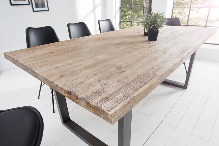 Massiver Esstisch WOTAN Akazie 160cm Massivholz Tisch teakgrau gekälkt Industrial Finish