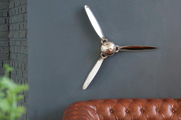 Authentischer Flugzeug Propeller SCREW III 60cm silber Wanddekoration hochwertige Metall-Aluminium Legierung