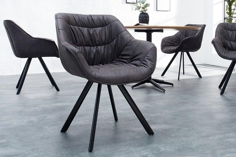 Design Stuhl THE DUTCH COMFORT antik grau hochwertig gepolstert mit Armlehne