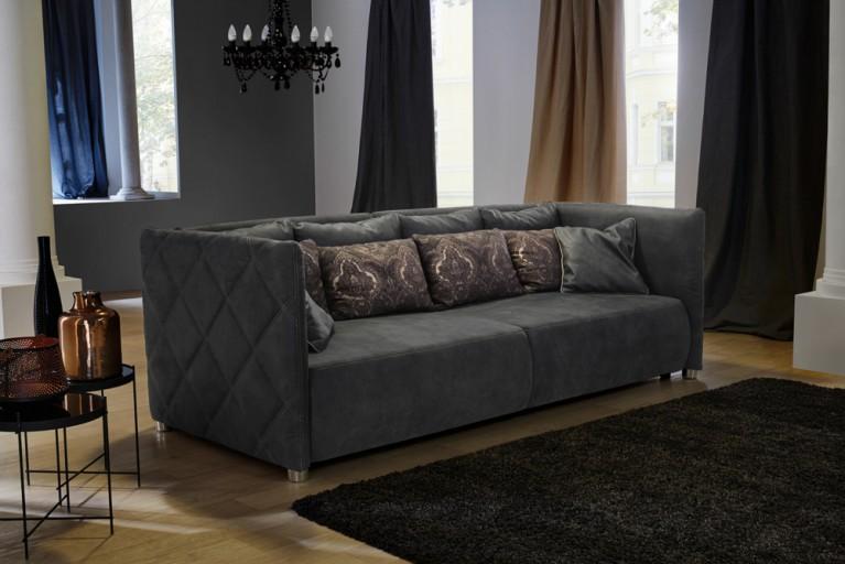 Modernes Design Sofa PALAZZO grau hochwertiges Kunstleder in Nubukoptik Wellenfederung