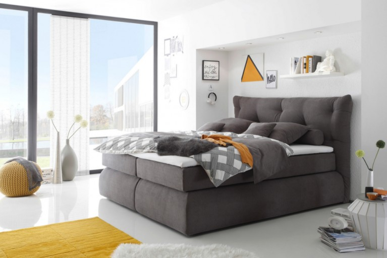 Hochwertiges Boxspringbett MADISON 180x200 cm grau Microvelour inkl. Matratze und Topper Hotelbett