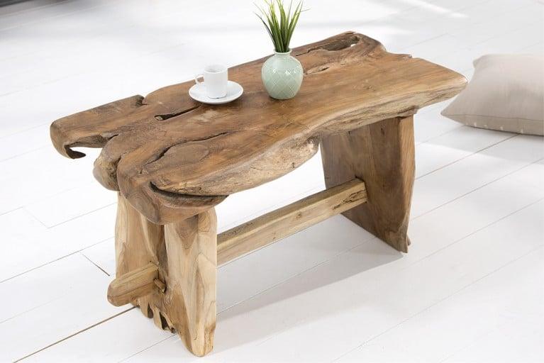 Exklusive Massivholz Baumstamm Bank NATURE ROOT 80cm Teak Holz Couchtisch natürliche Maserung