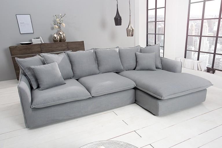 Großes Ecksofa HEAVEN 255cm Leinenstoff in silbergrau Leinen Couch