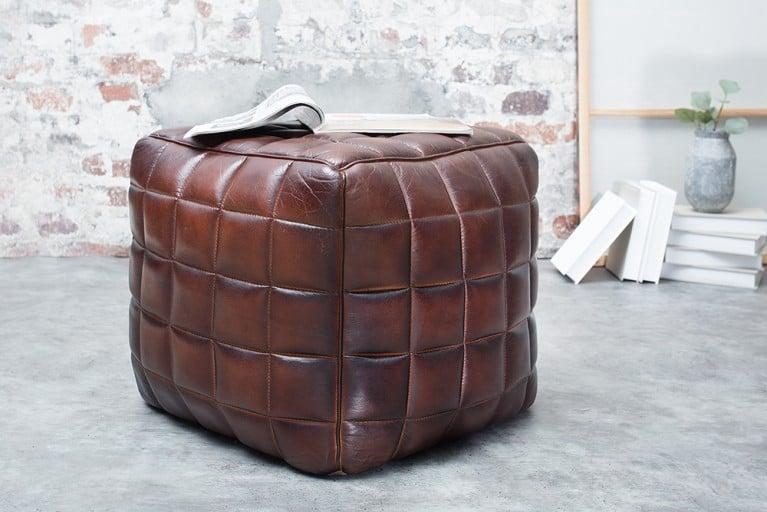 Design Echtleder Hocker TAURUS braun mit hochwertiger Steppung