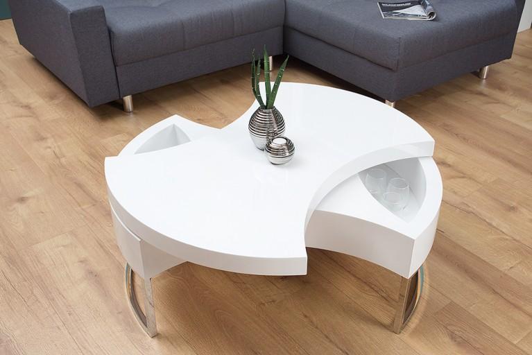 Exklusiver Design Couchtisch TURN AROUND Hochglanz weiß mit Drehmechanismus und Zusatzfächern