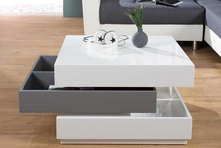 Exklusiver Design Couchtisch MULTILEVEL weiß grau Hochglanz drehbar