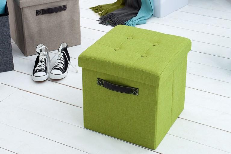 Vielseitiger Hocker KINGSTON grün Sitzwürfel Strukturstoff faltbar mit Knopfsteppung