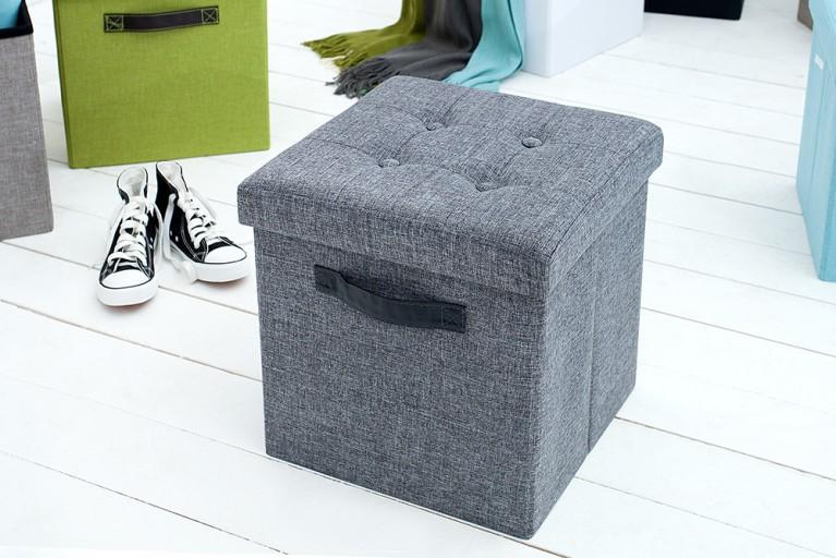 Vielseitiger Hocker KINGSTON grau Sitzwürfel Strukturstoff faltbar mit Knopfsteppung