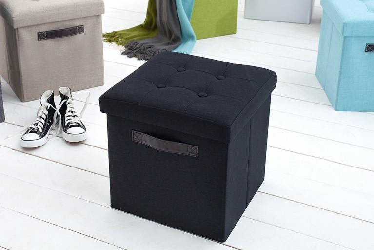 Vielseitiger Hocker KINGSTON schwarz Sitzwürfel Strukturstoff faltbar mit Knopfsteppung
