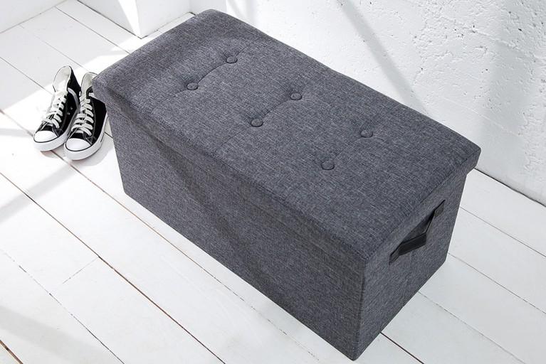 Vielseitige Sitzbank KINGSTON grau Strukturstoff faltbar mit Knopfsteppung
