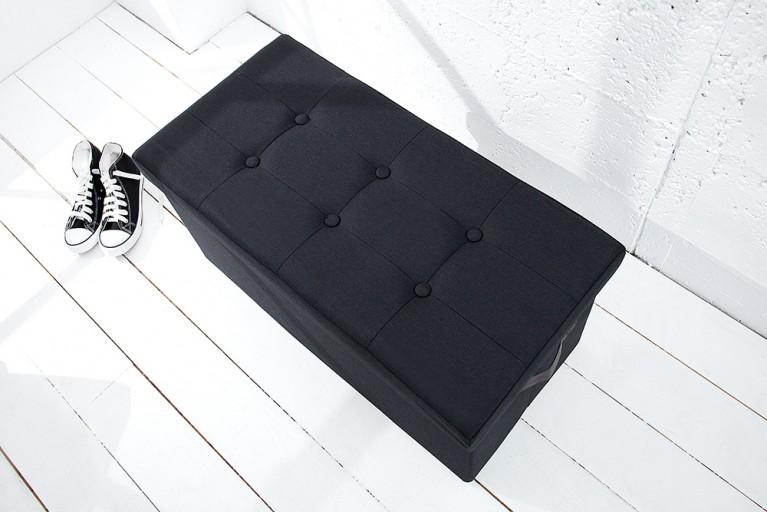 Vielseitige Sitzbank KINGSTON schwarz Strukturstoff faltbar mit Knopfsteppung