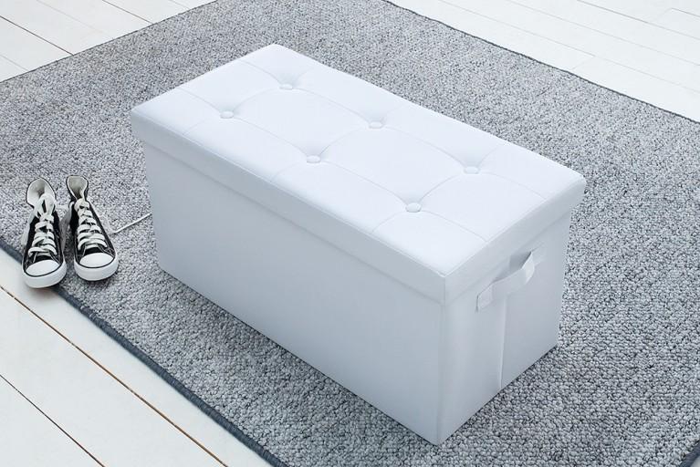 Vielseitige Sitzbank KINGSTON weiß faltbar mit Knopfsteppung