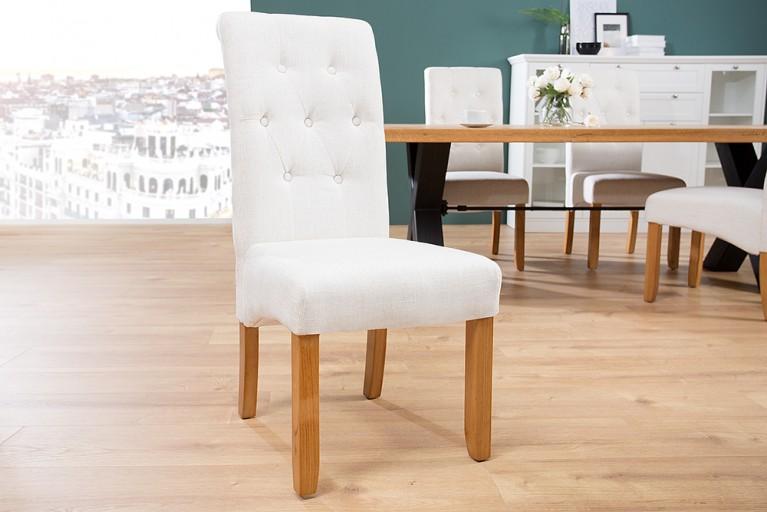 Edler Kolonial Stuhl VALENTINO mit Nackenrolle beige mit Zierknöpfen Massivholzbeine Eiche