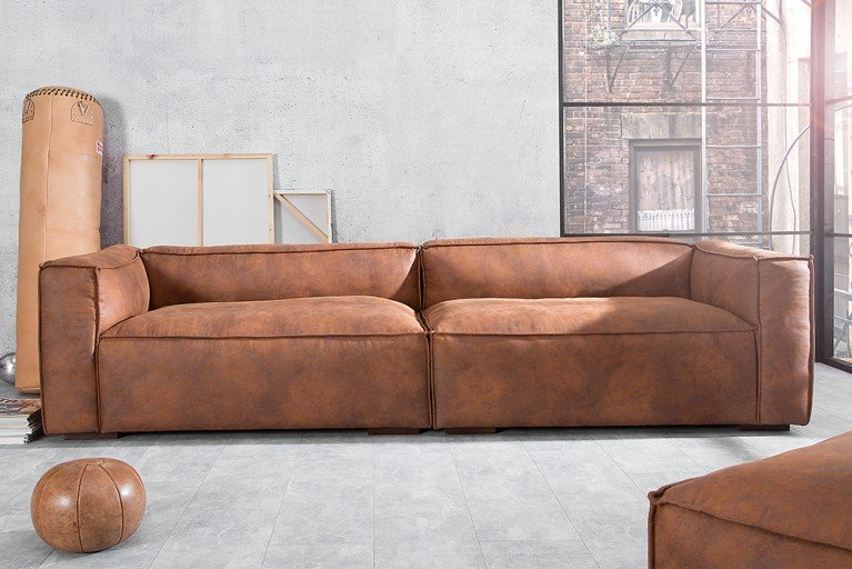 Stylisches Sofa GAUCHO braun 300 cm Used Look Couch