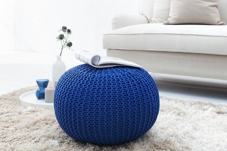 Design Strick Pouf LEEDS dunkelblau 50cm Hocker Baumwolle in Handarbeit Sitzkissen
