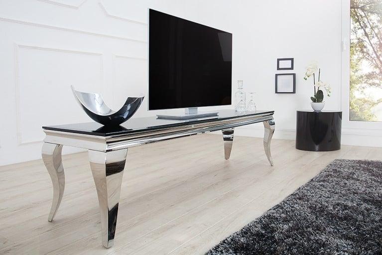 Stylischer TV Tisch MODERN BAROCK 160cm Edelstahl schwarzes Opalglas