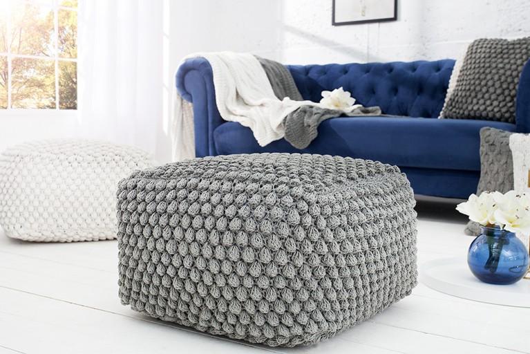 Design Sitzhocker Pouf Grau 55cm Riess Ambiente De