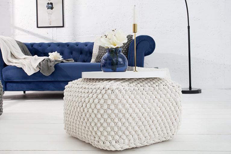 Design Strick Pouf COSY I weiß 55cm Sitzhocker in Handarbeit gestrickt