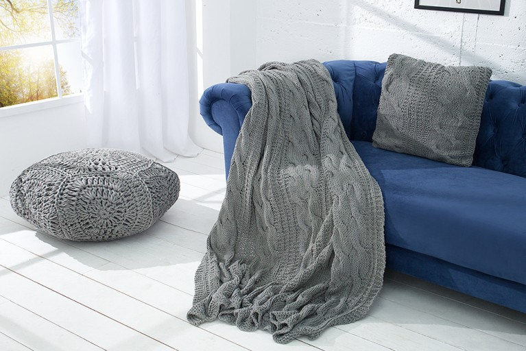 Design Strick Decke COSY II grau 130x170cm Plaid Überwurf aus Baumwolle