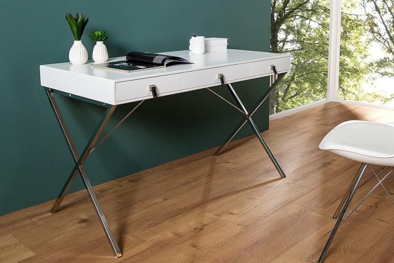 Exklusiver Design Schreibtisch HERITAGE edelmatt weiß 3 Schubladen mit Edelstahl-Leder Applikationen
