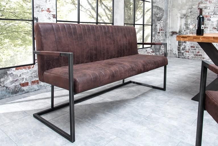 Sitzbank BIG ASTON vintage braun 160cm mit gebürstetem Eisengestell Industrie Designn