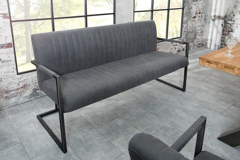 Sitzbank BIG ASTON Vintage Grau 160cm Mit Gebürstetem Eisengestell  Industrie Design