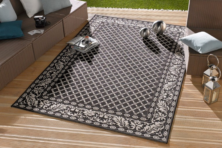 Eleganter In- & Outdoorteppich LOTUS Royal 115x165cm schwarz Lotus Summer Collection