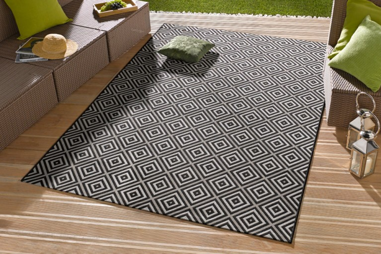 Eleganter In- & Outdoorteppich LOTUS 80x200cm Karo schwarz Lotus Summer Collection