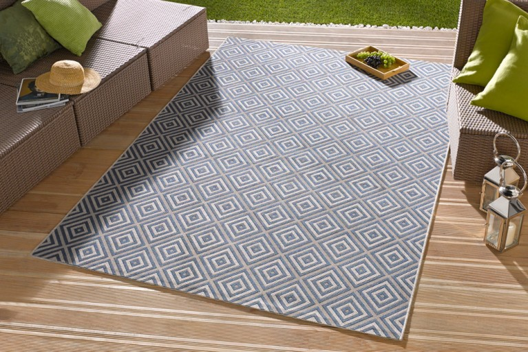 Eleganter In- & Outdoorteppich LOTUS 140x200cm Karo blau Lotus Summer Collection
