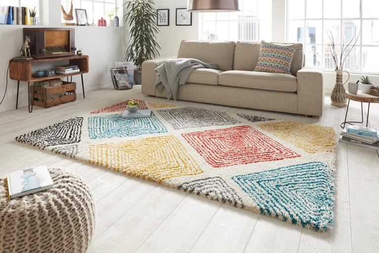 Hochwertiger Design Hochfloor Teppich ALLURE 120x170cm multicolor bunt
