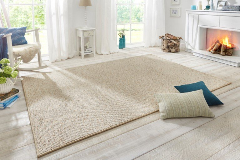 Design Teppich WOOL 200cm creme Woll-Optik