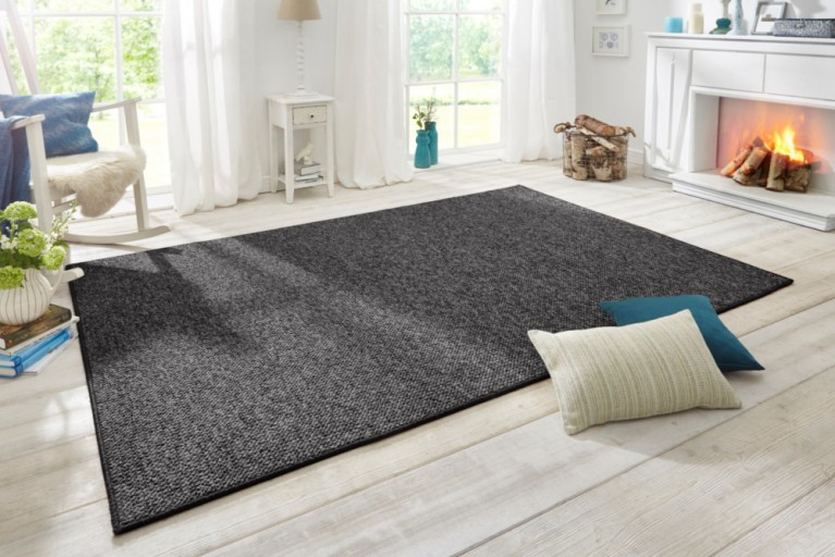 Design Teppich WOOL 200cm anthrazit Woll-Optik