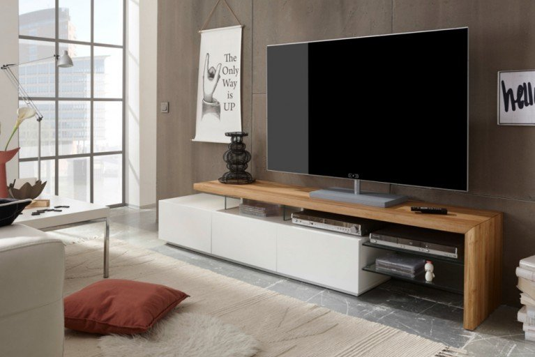 design tv lowboard alimos 205cm edelmatt weiss asteiche massiv