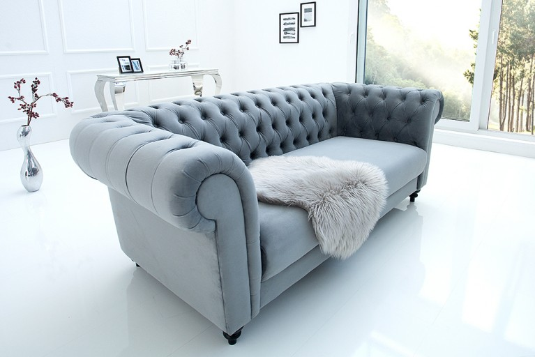 Edles Sofa CHESTERFIELD 200cm grau mit Ziersteppung Samt