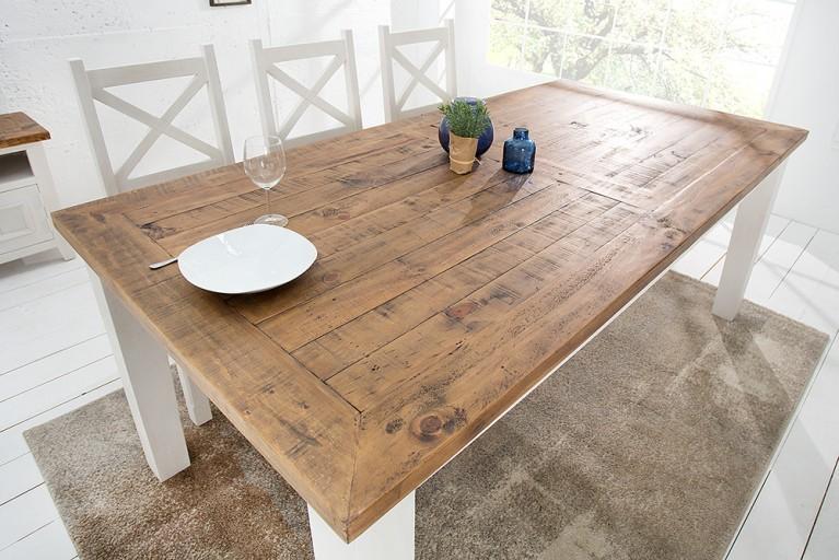 Landhaus Stil Esstisch 4-Fuß Tisch BYRON 200cm Pinienholz weiß vintage braun