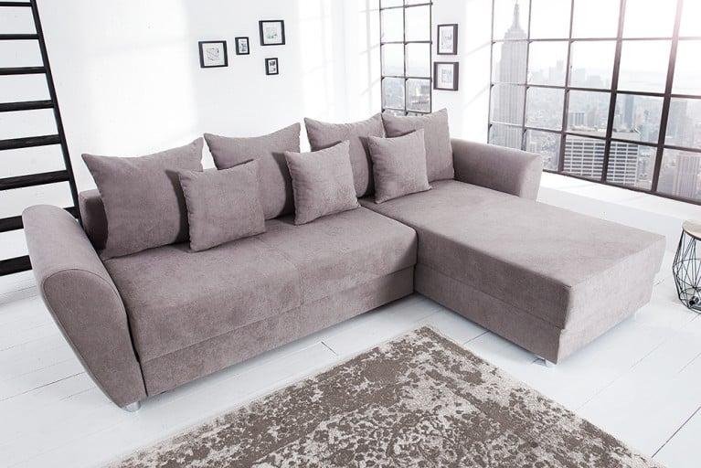 Modernes Ecksofa PALMA Soft Baumwolle greige Federkern Schlaffunktion