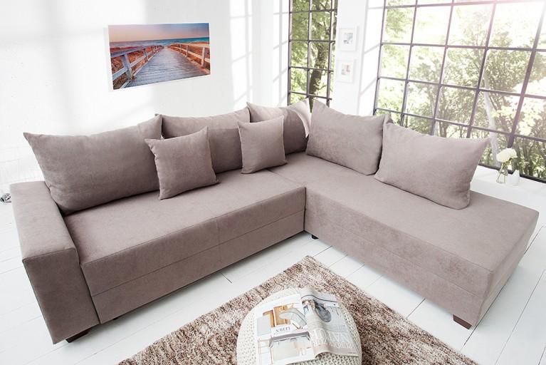 Design Ecksofa APARTMENT Soft Baumwolle greige Federkern Sofa Schlaffunktion