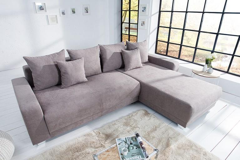 Ecksofa TAILORS CUT Soft Baumwolle beidseitig aufbaubar greige Federkern Schlaffunktion