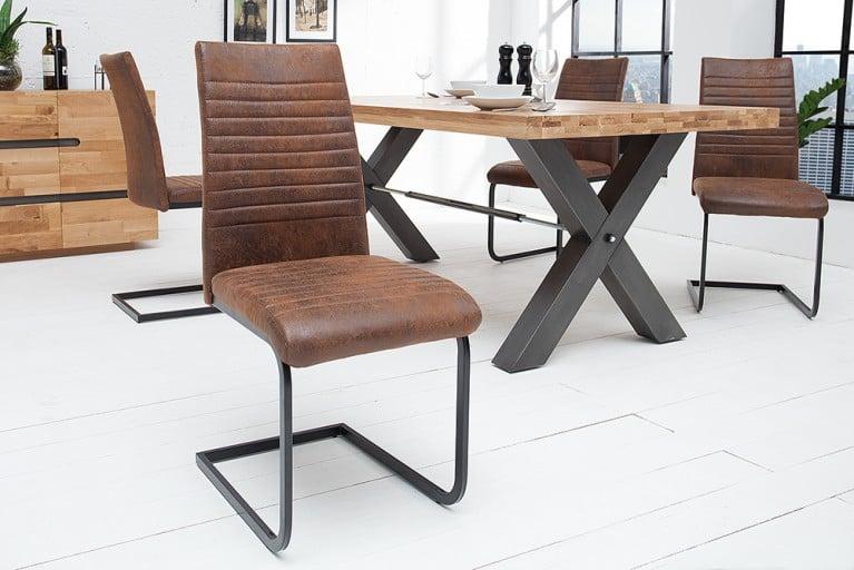 Moderner Freischwinger Stuhl DERBY Antik Stoff braun Vintage Gestell matt schwarz lackiert