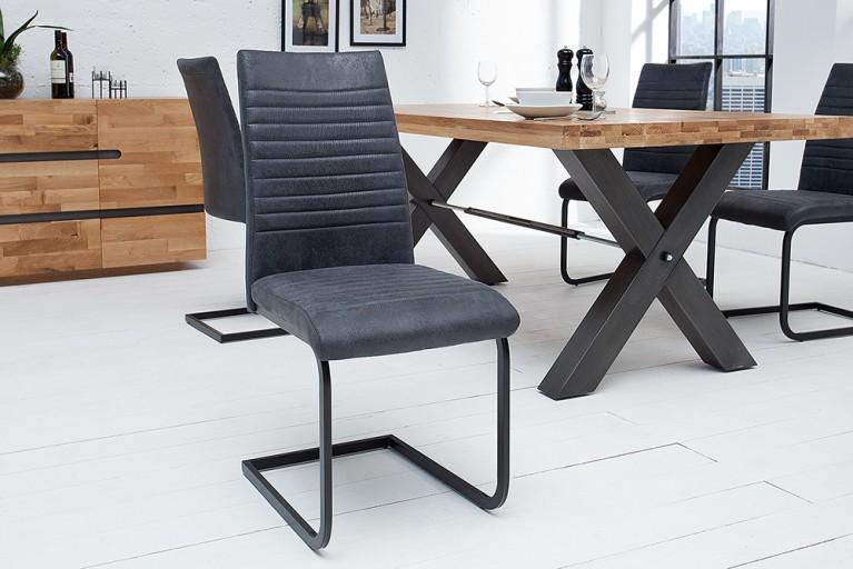Moderner Freischwinger Stuhl DERBY Antik Stoff grau Vintage Gestell matt schwarz lackiert