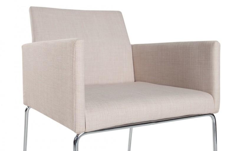 Eleganter Design Stuhl LIVORNO Strukturstoff beige Konferenzstuhl mit Armlehne
