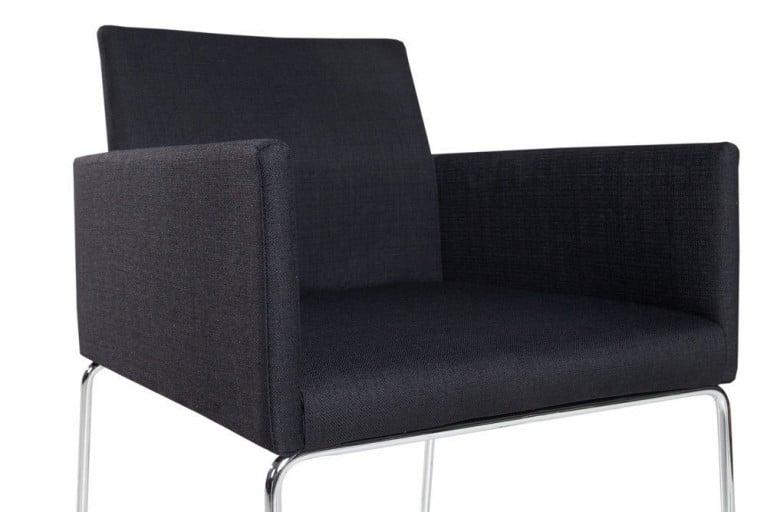 Eleganter Design Stuhl LIVORNO Strukturstoff schwarz-anthrazit Konferenzstuhl mit Armlehne