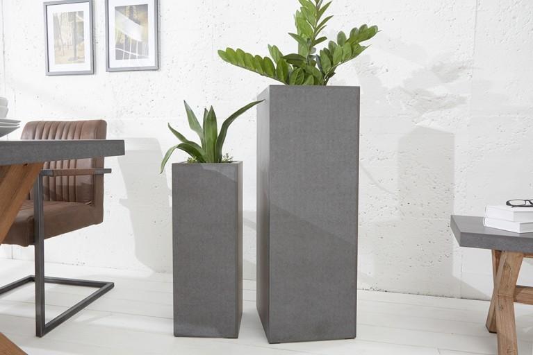 Design Säule CEMENT 70cm In- und Outdoor Pflanzkübel Beton-Optik