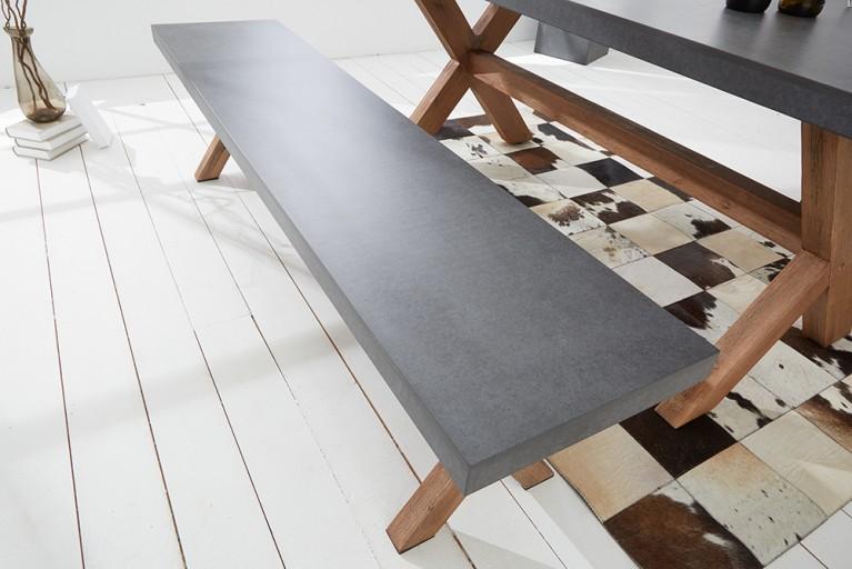 Design Sitzbank CEMENT Akazie Massivholz 180cm In- und Outdoor Beton-Optik