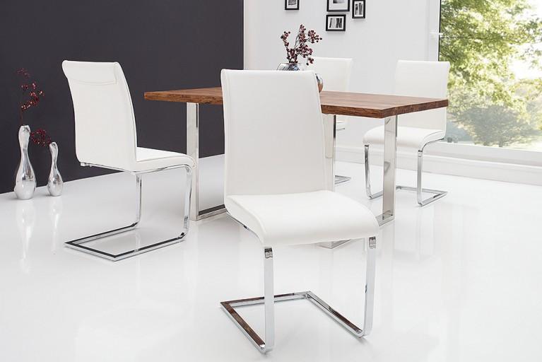 Moderner Design Schwinger Stuhl ELEGANCE weiß mit Chromgestell
