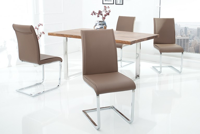 Moderner Design Schwinger Stuhl ELEGANCE champagne braun mit Chromgestell