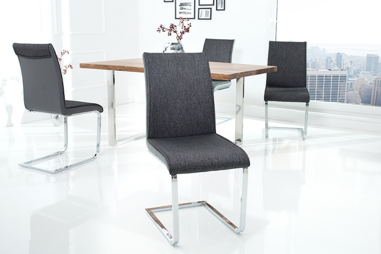 Moderner Design Schwinger Stuhl ELEGANCE anthrazit grau mit Chromgestell
