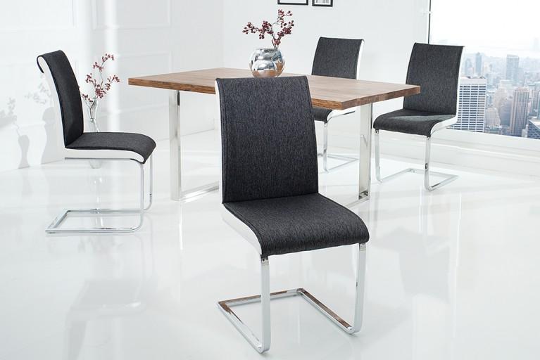 Moderner Design Schwinger Stuhl ELEGANCE anthrazit weiß mit Chromgestell