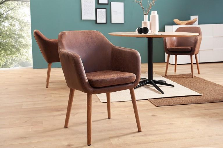 Design Armlehnstuhl SUPREME vintage braun Massivholzbeine